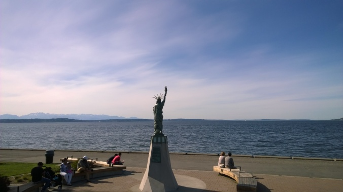 A mini Statue of Liberty near the birthplace of Seattle