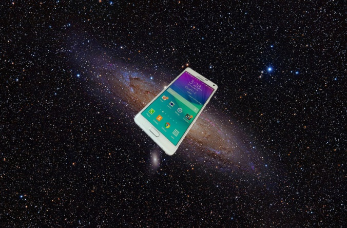 Samsung Galaxy Note 4 composited with SG NOTE 4 + 800px-Andromeda_Galaxy-creative-commons