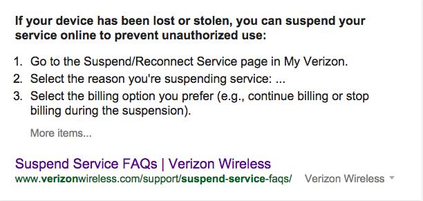 VZW suspend service