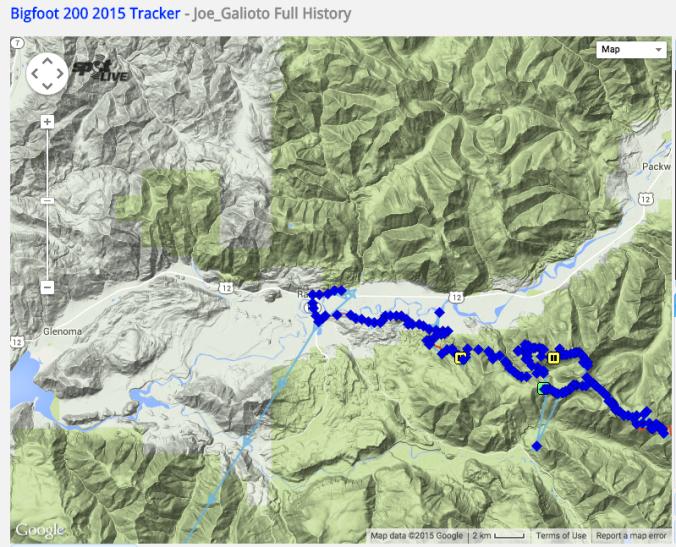 Joe Galioto Bigfoot 200 map