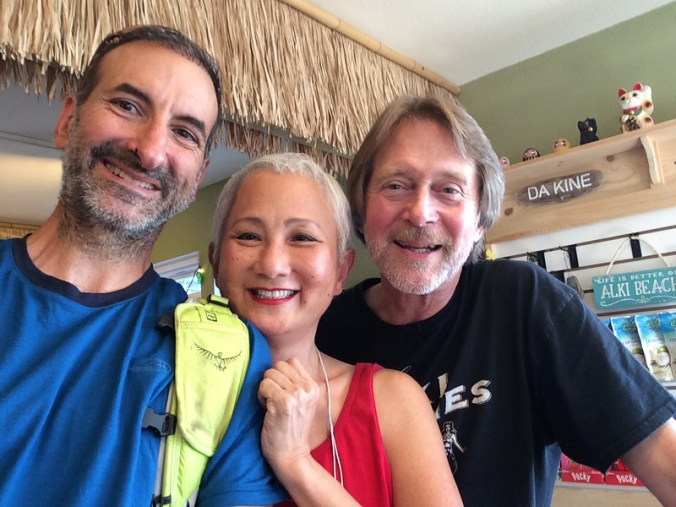 Selfie of Joe, Terri and David at Alki Surf Shop in Seattle, WA
