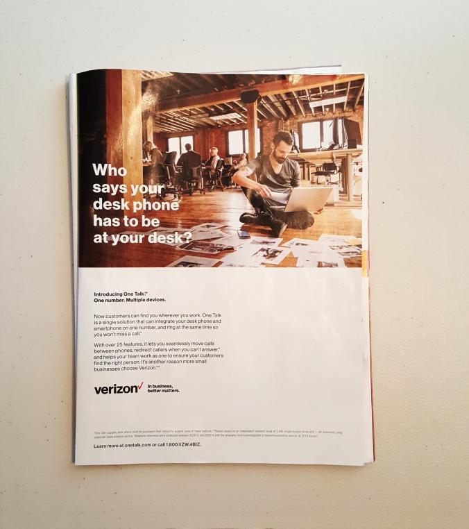 Verison One-Talk ad in Bloomberg by © terri nakamura